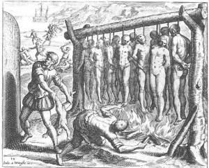 """""""Die Insel Española (Anm.: heute Haiti und Dominikanische Republik) war, wie gesagt, die erste, auf der die Christen einfielen, und dort begannen sie mit dem großen Metzeln und Morden unter diesen Leuten, und so wurde sie von ihnen zuerst zerstört und entvölkert, und dort fingen die Christen damit an, den Indios ihre Frauen und Kinder zu entreißen, um sich ihrer zu bedienen und sie zu mißbrauchen"""". (Las Casas, Werkauswahl Bd. 2, 70).  """"Sie bauten große Galgen, die so beschaffen waren, daß die Füße der Opfer beinahe den Boden berührten und man jeweils dreizehn von ihnen henken konnte, und zu Ehren und zur Anbetung unseres Heilands und der zwölf Apostel legten sie Holz darunter und zündeten es an, um sie bei lebendigem Leibe zu verbrennen."""" (Las Casas, Werkauswahl Bd. 2, 71)."""