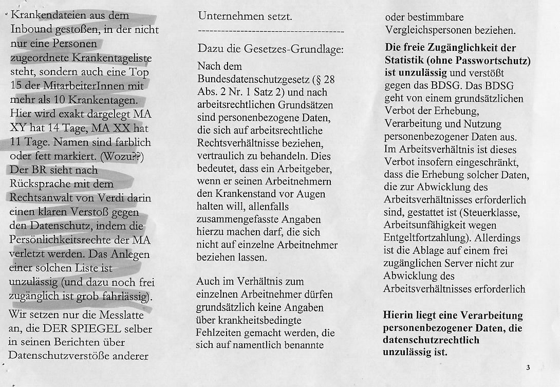 Newsletter des Betriebsrates der SPIEGEL-Tochter Quality Service GmbH, S. 3