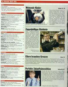 """Inhaltsverzeichnis des neuen Kinder-SPIEGEL im """"exklusiven Vorabdruck"""" des Satiremagazins Titanic (aktuelle Ausgabe)"""