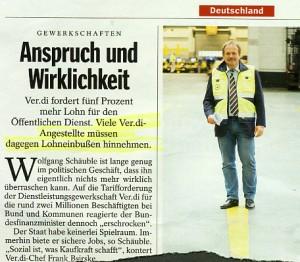"""Die Behauptung des SPIEGEL, """"viele Ver.di-Angestellte müssen Lohneinbußen hinnehmen"""", ist offenbar falsch (Ausgabe 1/2010, 4. Jan. 2010, S. 34)"""