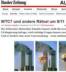 """Der Artikel """"WTC7 und andere Rätsel um 9/11"""" von der Basler Zeitung vom 7. Sept. 2011 ist einer der wenigen Beiträge von einem etablierten Medium, in dem voruteilsfrei zentrale Fragen gestellt werden"""