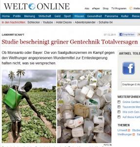 """Studie bescheinigt Agro-Gentechnik Totalversagen - für """"Die Welt"""" ein Bericht wert, für den """"SPIEGEL"""" nicht...; Foto: PA"""