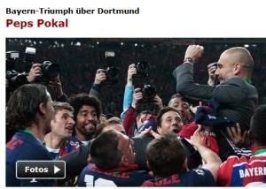 """Während sich SPIEGEL Online selbst um 10 h früh am Morgen nach dem Pokal-Finale nur für """"Peps Triumph über Dortmund"""" interssiert...; Foto: Reuters"""
